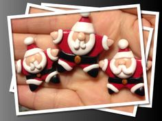 Polymer clay star Santa. Would make great badges or magnets.