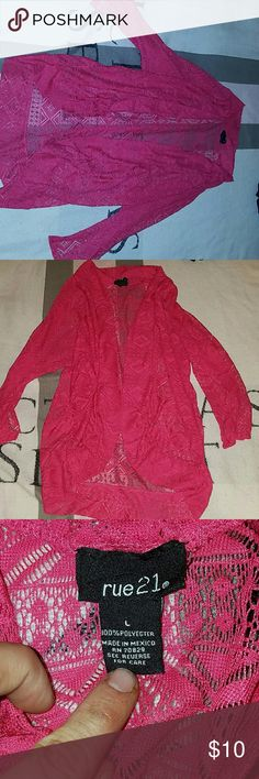 Hot pink cardigan This is a beautiful cardigan. It is hot pink with cool tribal design on it. It is a large. From rue 21. Rue21 Tops Camisoles