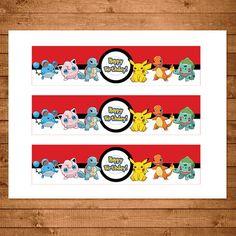 Pokemon Drink Labels Red & White Pokemon by NineLivesNotEnough Birthday Drinks, Boy Birthday Parties, Pokemon Party Invitations, Pokemon Printables, Valentine Boxes For School, Printable Birthday Banner, Printable Water Bottle Labels, Drink Labels, Pokemon Birthday