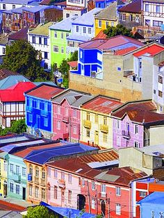 Traditional Colourful Houses, Valparaiso, Unesco World Heritage Site, Chile…
