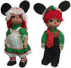 "Amazon.com: Precious Moments Disney Raggedy Ann & Andy Christmas To You 12"" Dolls: Toys & Games"