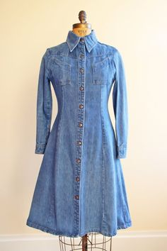 1970s Coat Vintage 70s Fitted Denim dress/jacket.  We wore ours as jean jackets with our exercises & super straight Levi's corduroys!