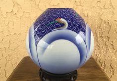 Rare Koransha Vase 鶴 Tsuru Red-Crowned Crane Waves Cobalt Blue Fine Porcelain Vaas 白鷺 Egret 鷺 Heron Gilt Urn Gilded Jar Arita Japan *Free SH by GuamAntiquesNstuff on Etsy