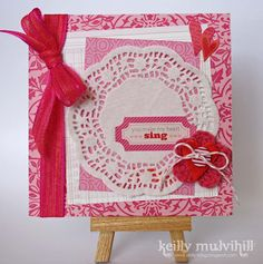 hearts and paper doilies card