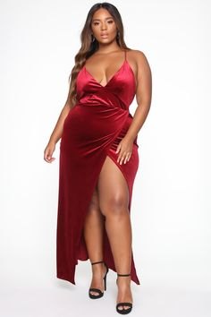 Available in Royal and Dark Burgundy Velvet Maxi dress Cross Back High Slit Self: 95% Polyester 5% Spandex Lining: 100% Polyester Imported | Angelique Velvet Maxi Dress in Burgundy size Large by Fashion Nova Club Dresses, Plus Size Dresses, Formal Dresses, Bridesmaids, Bridesmaid Dresses, Burgundy Fashion, Sexy Maxi Dress, Beautiful Black Girl, Holiday Party Dresses