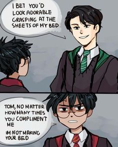 XD Harry Potter and young Tom Riddle Harry Potter Comics, Harry Potter Anime, Harry Potter Texte, Harry Potter Puns, Harry Potter Ships, Harry Potter Fan Art, Harry Potter Universal, Harry Potter World, Harry Potter Hogwarts