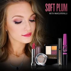 """@MakeupByAlli nails the fall """"mix and matte"""" trend with plum lips and a subtle smoky eye."""