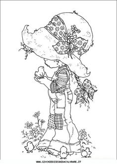 Sarah Kay Fargelegging for barn 1 Holly Hobbie, Free Printable Coloring Pages, Coloring Book Pages, Free Printables, Free Coloring, Coloring Pages For Kids, Kids Coloring, Fairy Coloring, Sara Kay