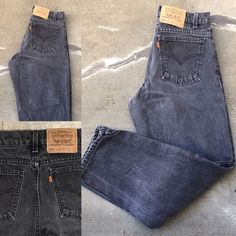 """Levi's 550 Relaxed Fit Tapered Leg Jeans Faded Black Made In USA 31 1/2"""" X 29""""  