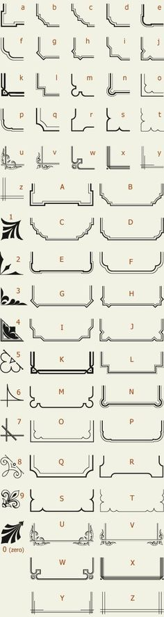 Letterhead Fonts / LHF Corner Specimens / Scrolls and Borders by Port Side Design Web Design, Graphic Design, Border Design, Pyrography, Design Elements, Stencils, Clip Art, Design Inspiration, Letters