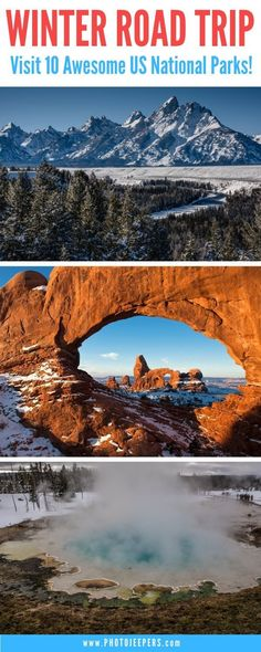 Plan a trip to visit US National Parks in the winter. You'll avoid the summer heat, bugs and crowds. Enjoy fun outdoor activities during the offseason. Winter Road, Winter Travel, Road Trip Usa, Usa Trip, Road Trip Destinations, Road Trip Hacks, Us National Parks, Travel Usa, Travel Tips