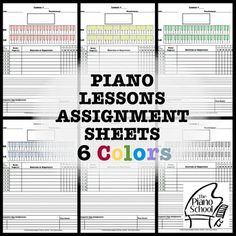 free printable piano assignment sheets