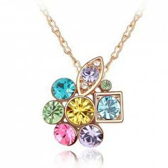 $2.49 Sweet Colorful Rhinestone Decorated Pendant Necklace For Women