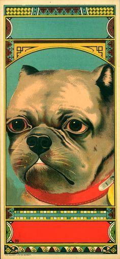 19th century bulldog tobacco crate label