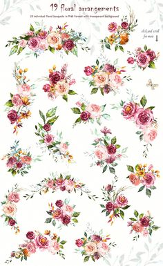 Watercolor Flower Clipart Design set by Lisima on Creative Market - Rim Style