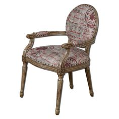Have to have it. Uttermost Bonheur Arm Chair - Antiqued Parchment - $745.8 @hayneedle.com