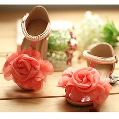 Little Girls Pink Patent Leather Party Flower Pageant Girl Shoes Sandals  SKU-133008