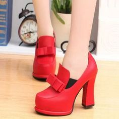 Style:Sweet  Color:Red/Black/Cream-coloured  Material:PU  Outsole:Rubber  Heel Type:Thick  Size:US 5.5/ US 7/US 7.5/US 8  UK 3      US 5.5      EUR 35          MM 225  UK 5      US 7        EUR 37          MM 235   UK 5.5    US 7.5      EUR 38          MM 240  UK 6      US 8    ...