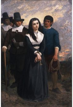 """June 10, 1692: The Salem witch trials: Bridget Bishop is hanged at Gallows Hill near Salem, Massachusetts for """"certaine Detestable Arts called Witchcraft & Sorceries.""""  Witch Hill (The Salem Martyr), 1869, oil on canvas, by Thomas Satterwhite Noble, Gift of the Children of Thomas S. Noble and Mary C. Noble, in their memory.  NYHS Object Number 1939.251."""