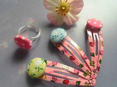 *Button Girl* 3 Haarclipse und Ring mit Knöpfen von Happy Lilly auf DaWanda.com