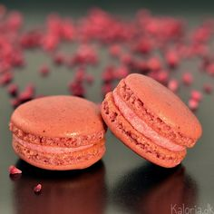 Intense raspberry macarons. With rasberry in the shells also. Yum!