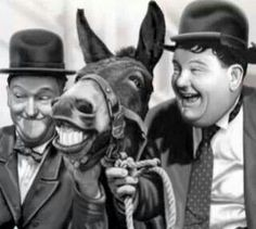 Laurel  & Hardy with a Mule Friend...
