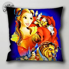 walt disney beauty and the beach pillow case, cushion cover ( 1 or 2 Side Print With Size 16, 18, 20, 26, 30, 36 inch )