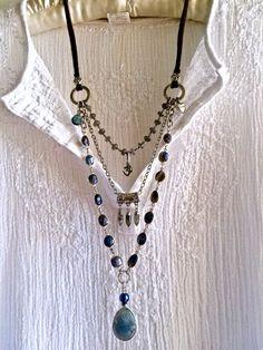 Labradorit-Freude! dreifache Strang Edelstein Halskette Blau Grau Perlen Silberkette Om Charm Leder Sundance Stil große Anhänger Boho lange