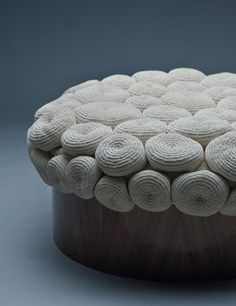 Monomoka souffle Cotton soufflé formed by 76 crocheted shapes in a wooden walnut mould.