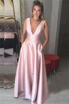 Pink Prom Dresses, V-Neck Prom Dresses, V-neck Prom Dresses, Prom Dresses 2019, Prom Dresses A-Line #PinkPromDresses #VNeckPromDresses #PromDressesALine #VneckPromDresses #PromDresses2019