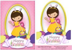 Easter Basket Girl A5 Topper on Craftsuprint - View Now!