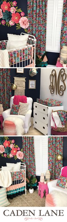 Jocelyn's Navy Boho Floral Nursery This fun dark floral nursery is sooo adorable! Baby Design, Nursery Design, Baby Girl Nursery Themes, Nursery Ideas, Room Ideas, Baby Room Themes, Baby Rooms, Floral Nursery, Floral Wall