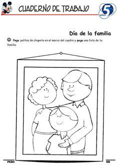 Día de la familia Pega palitos de chupete en el marco del cuadro y pega una foto de tufamilia.PERSONAL SOCIAL 5 AÑOS