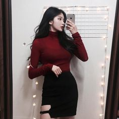 Ulzzang fashion kfashion red clothing ulzzang fashion, fashion, fashion out Korean Fashion Trends, Korea Fashion, Asian Fashion, Fashion Beauty, Girl Fashion, Fashion Outfits, Fashion Tips, Fashion Design, Style Fashion