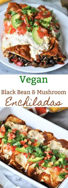 Vegan black bean & mushroom enchiladas with homemade enchilada sauce and cashew cream. The perfect Mexican dinner black bean & mushroom enchiladas with homemade enchilada sauce and cashew cream. The perfect Mexican dinner. Vegan Dinner Recipes, Veggie Recipes, Mexican Food Recipes, Whole Food Recipes, Cooking Recipes, Healthy Recipes, Diet Recipes, Vegan Black Bean Recipes, Pasta Recipes