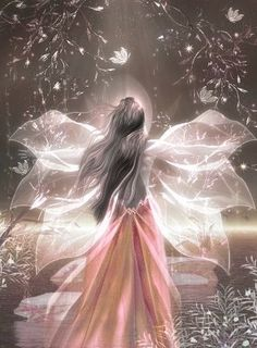 This sweet and beautiful young fairy is holding out her arms to feel the pull of her own magical self. She is learning how to focus her powers and use them for the forces of good in nature!