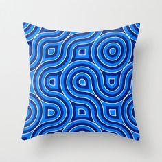 Blue Abstract Throw Pillow, Pillow Cover, Light Blue, Dark Blue, White, Art Pattern, Home Decor, Modern, Decorative, Circles, Geometric