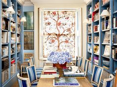 Is It True That Dining Rooms Are Out? - laurel home  -  Fabulous home of Caroline Sieber | love this wonderful blue and white dining room / library combo