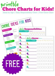 FREE Printable Chore Charts for Kids & FREE Responsibility Charts + a HUGE list of Chore Ideas for kids by age, Even 2 & 3 Year Olds can start learning to help, we have a list of ideas for you for Preschoolers, Kids, Teenagers & more!