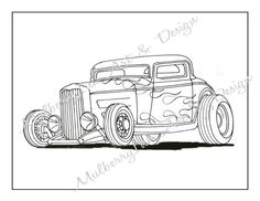 coloring page classic car coloring page hot rod coloring page adult coloring page cars coloring book adult coloring book kids coloring page