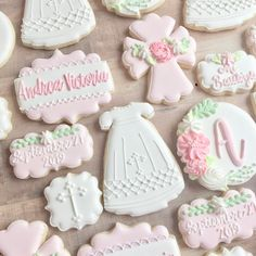 Christening Cookies, Christening Party, Baby Baptism, Fancy Cookies, Holiday Cookies, Baptism Desserts, Sugar Cookie Royal Icing, Sugar Cookies, Baby Girl Cookies