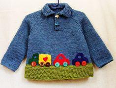 Bebé niño suéter - Jersey de lana de tamaño de 12 a 18 meses con los coches de colores