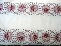 3 1/4 yards White and Red Paisley NOS 60s Fabric by JazzyMarie, $15.00