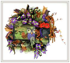 Halloween Wreath - Halloween Owl Wreath - Halloween Owl - Halloween Whimsical Wreath - Halloween Decor - Front Door Wreath - Fall Wreath by TheNakedDoorLLC on Etsy