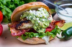 Tequila Lime Grilled Chicken Club Sandwich with Guacamole and Roasted Jalapeno Mayo