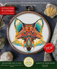 Mandala Fox Cross Stitch Pattern for Instant Download  167