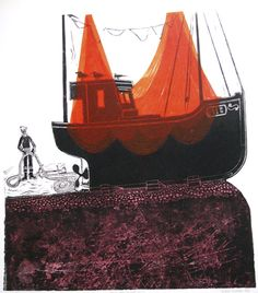 Robert Tavener » Boats and Net—Red
