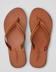 Shop the latest products from American Eagle Outfitters on Wanelo, the world's biggest shopping mall. Leather Flip Flops, Leather Sandals Flat, Leather Slippers, Cute Shoes, Me Too Shoes, Shoes Flats Sandals, Flip Flop Sandals, Tan Shoes, Embellished Shoes