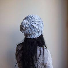 Slouchy pom pom grey oversized chunky hat knit look crochet on Etsy, $33.00