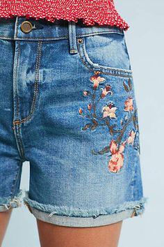 Driftwood Lulu High-Rise Embroidered Denim Shorts